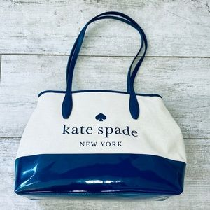 Kate Spade NAVY BLUE canvas side snap street tote